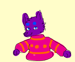 purple & blue furry in pink & orange sweater