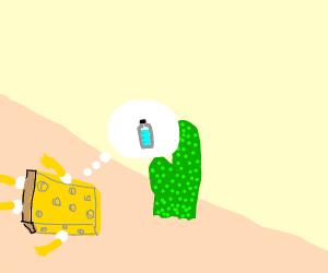 Spongebob dying of thirst in desert.
