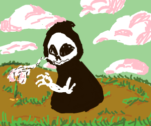 Grim reaper collecting flower's soul