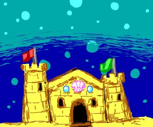 sand castle underwater