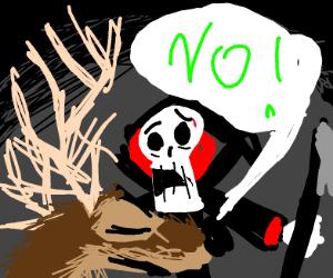 Strange mythical deer says no to grim reaper