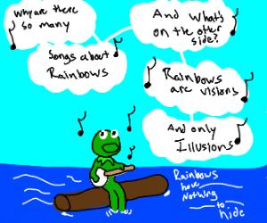 "Kermet singing ""The Rainbow Connecting"""