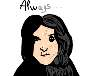 Snape with half his face sewn on