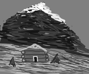 Mountainside at night with log cabin