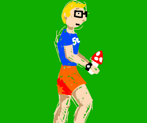Griffin jogging with a Mushroom