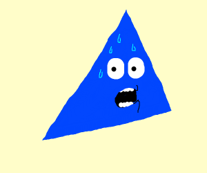 a blu triangle is scared