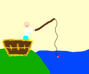 Person in Treasure Chest fishing