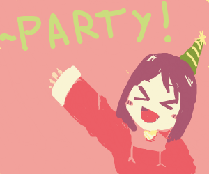 Nano from Nichijou being festive