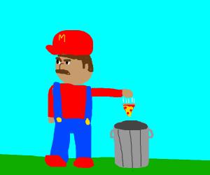 Mario throws away pizza