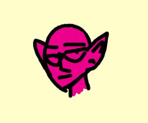 magenta bald elf