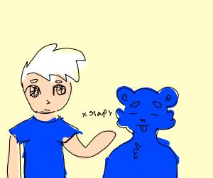 White haired anime boy slaps blue bear.