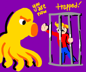 Screaming man imprisoned by large octopus