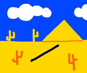 A single green line in a desert.