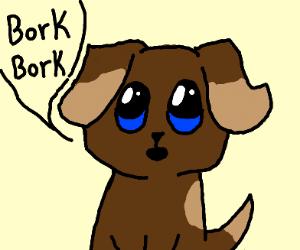 a cute pupper borkborking