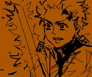 Tanjiro with flaming sword.