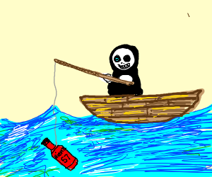 Sans on a boat fishing for ketchup