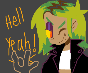 Green-haired rockstar screams hell yeah