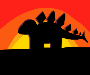 stegosaurus in the sunset