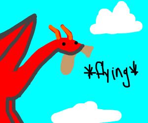Dragon flying away with bag