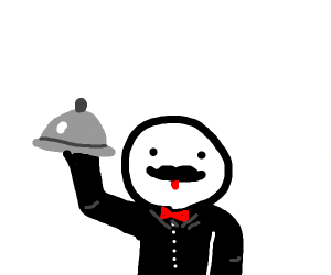 Fancy waiter with a platter
