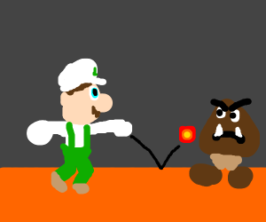 Luigi attacking a Goomba with a fireball