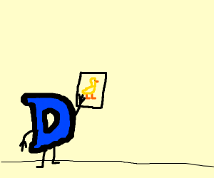 Drawception D looks sadly at picture of duck
