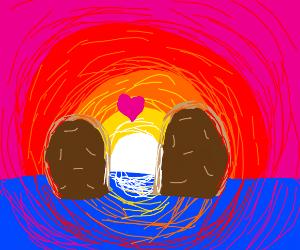 A potato couple in the ocean