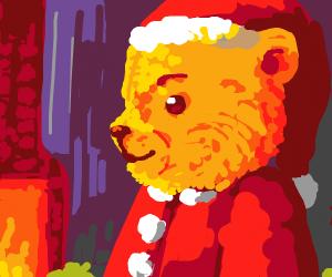 A cute teddybear with santa clothing