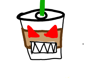 monster latte complete with teeth