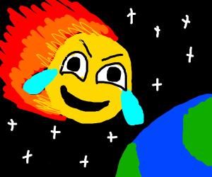 Laughing Crying emoji destroys earth