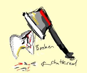ax breaks teeth