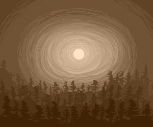 Full moon over a brown forest