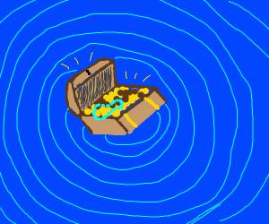 treasure chest in whirlpool