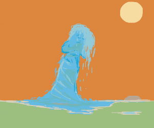 girl made out of water crying