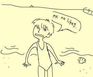 boy in one piece swimsuit