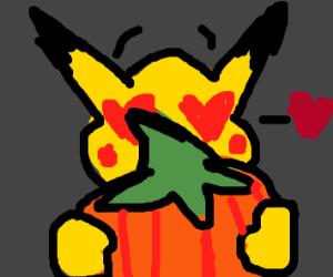 pikachu in love with a pumpkin