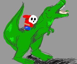 Shy Guy rides a dinosaur