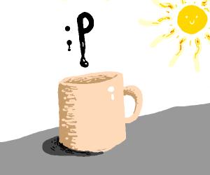 :P emoji melting into cup