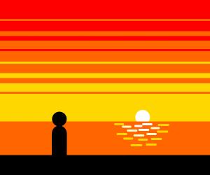Watching a beach sunset