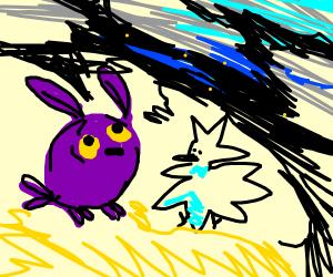 Purple owl has spiky duck friend