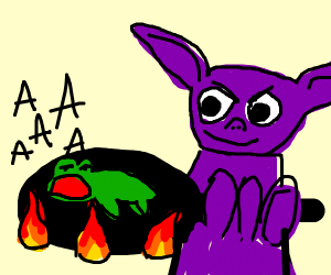 Purple Goblin cooking frog alive