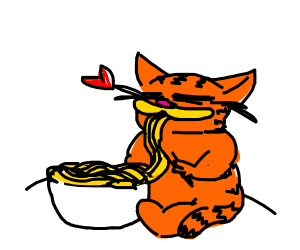 Garfield Eating Pasta Drawception