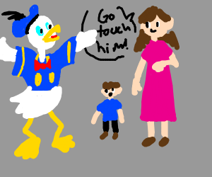 mom telling her kid to go touch donald duck