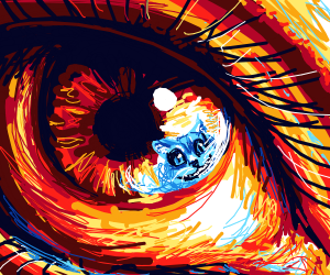 Close up on eye wth cheshire cat n reflection