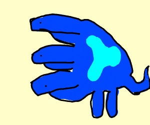 Weird creature that is blue and has 3 heads
