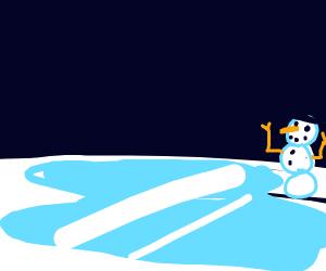 Snowman by a frozen lake