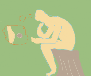 The Thinker (thinking about farting)