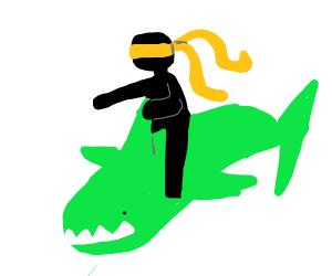 Ninja rides green shark