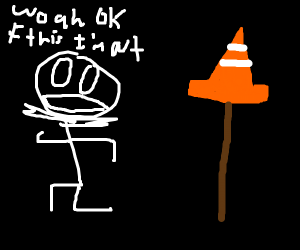 Skeleton bewares a traffic cone on a stick