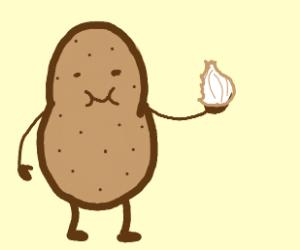 potato eating a onion